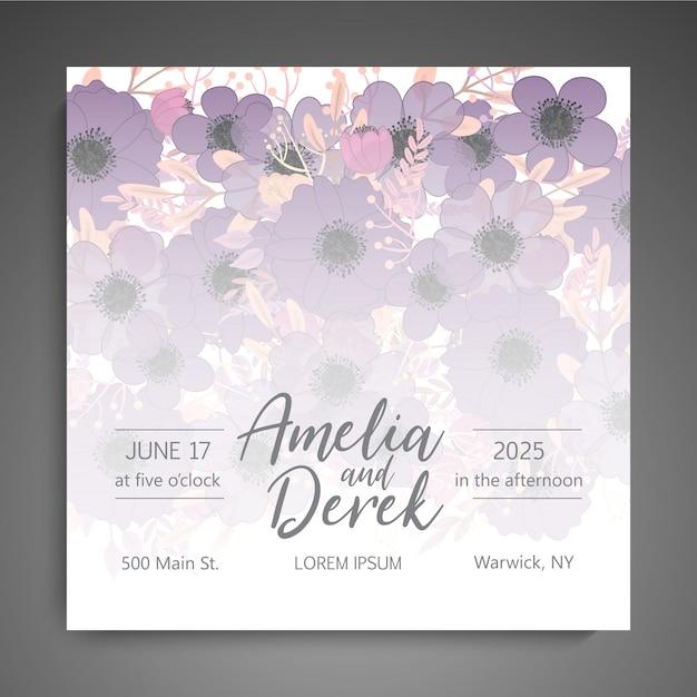 Partecipazione di nozze con fiore rosa Vettore gratuito
