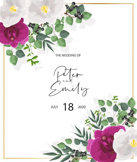 Partecipazione di nozze con fiori di orchidea bianchi e viola. decorazioni di foglie verdi Vettore gratuito