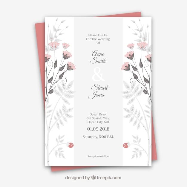 Partecipazione di nozze con ornamenti floreali Vettore gratuito