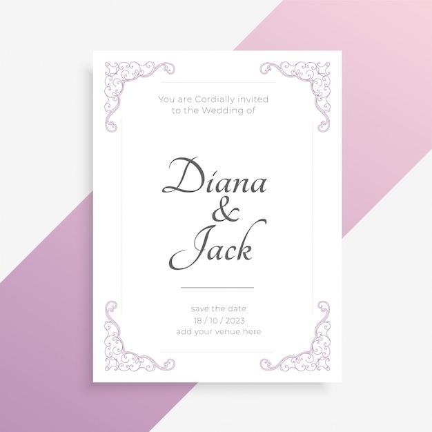 Partecipazione di nozze elegante in colore bianco Vettore gratuito