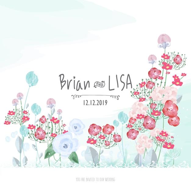 Partecipazione di nozze floreale dolce nello stile dell'acquerello. Vettore Premium
