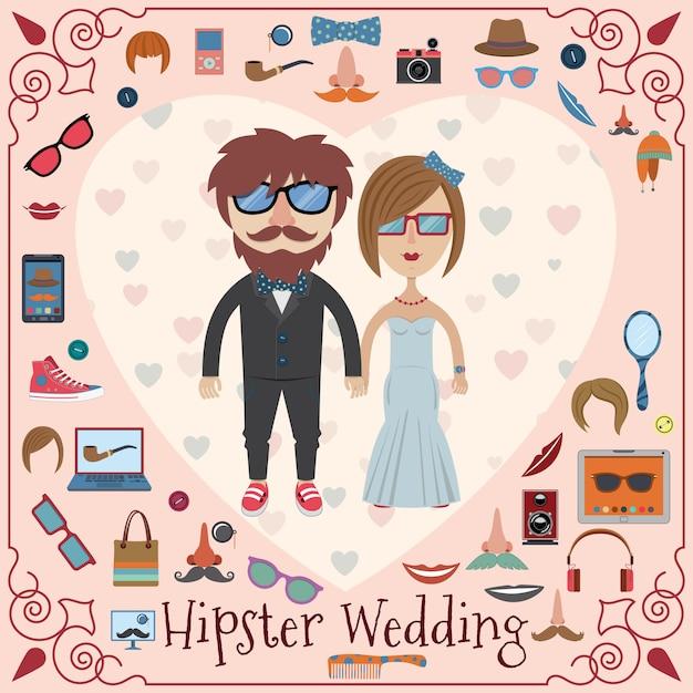 Partecipazione di nozze hipster Vettore Premium