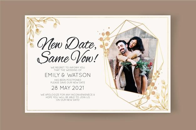 Partecipazione di nozze posposta Vettore gratuito