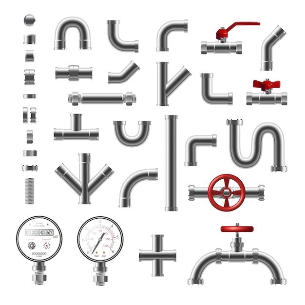 Parti della conduttura e tubi d'acciaio dell'insieme realistico di forma differente isolato sull'illustrazione bianca del fondo Vettore gratuito