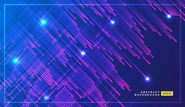 Particelle di luce al neon, stelle cadenti, meteoriti che volano ad alta velocità su dark space Vettore Premium