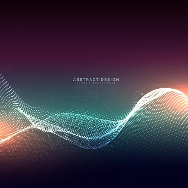 Particelle digitali onda maglia sfondo tecnologia Vettore gratuito