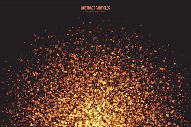 Particelle luminose brillanti dorate di sfondo astratto di vettore Vettore Premium