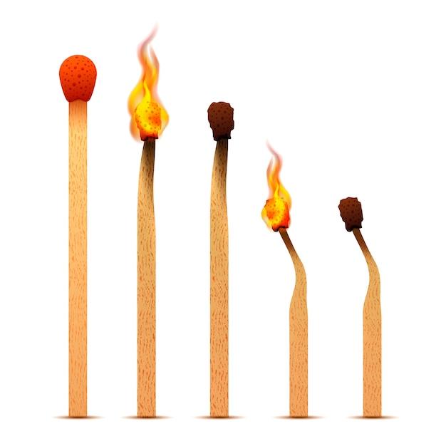 Partite realistiche con fiamme di fuoco su diversi stadi di combustione Vettore Premium