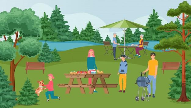 Partito, barbecue e gente felici del barbecue della famiglia sul picnic con alimento arrostito nell'illustrazione della natura. Vettore Premium