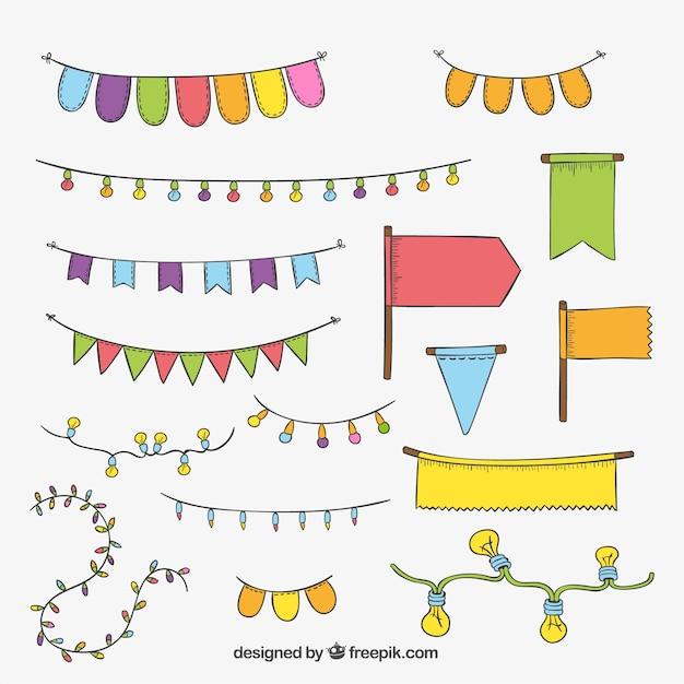 Partito elementi decorativi Vettore gratuito