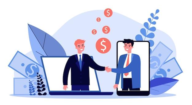 Partner che agitano le mani illustrazione Vettore Premium