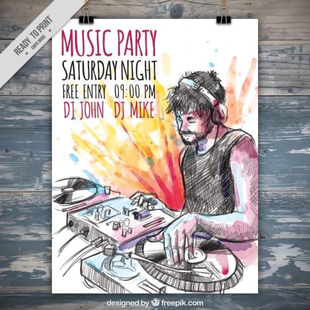 Party poster disegnato a mano dj musica con schizzi ad acquerello Vettore gratuito