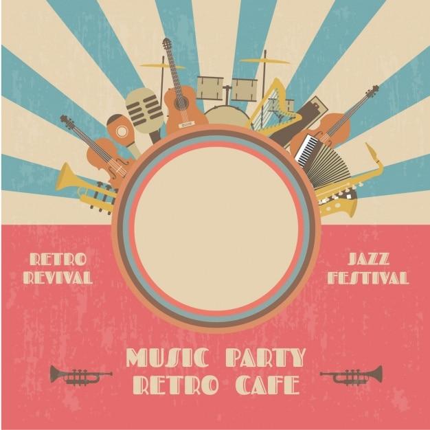 Party poster retro musica Vettore gratuito