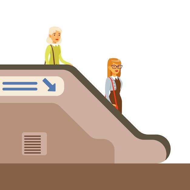Pasanger discendente scala mobile in metro Vettore Premium