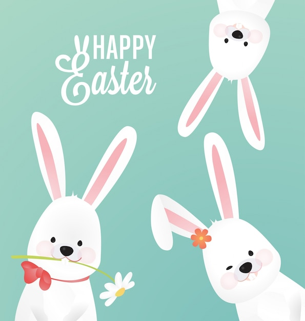 Pasqua sfondo carino con tre coniglio Vettore gratuito