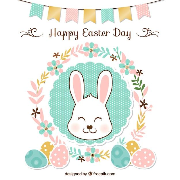 pasqua sfondo floreale con ghirlanda e coniglio carino Vettore gratuito