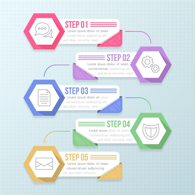 Passaggi di design piatto infografica Vettore gratuito