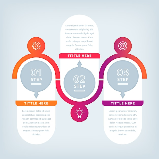 Passaggi di infografica design piatto Vettore gratuito
