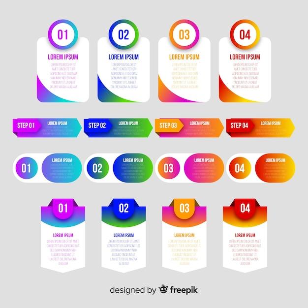 Passaggi di infografica gradiente colorato Vettore gratuito