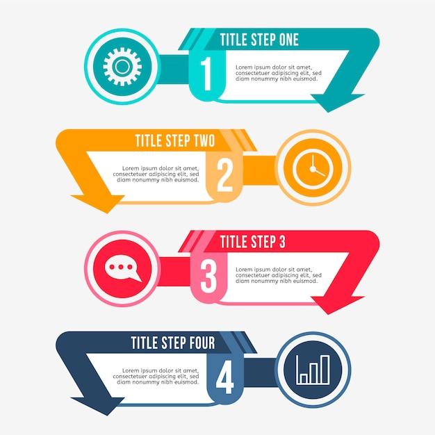 Passaggi di infografica modello design piatto Vettore gratuito