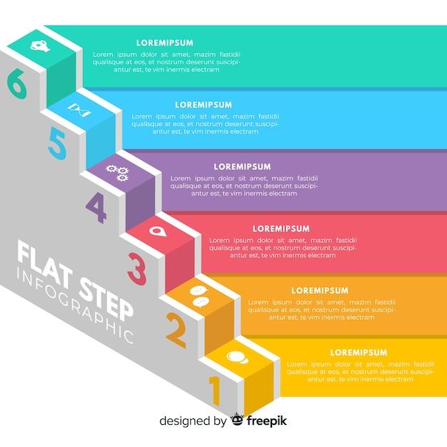 Passaggi infografica piatte Vettore gratuito