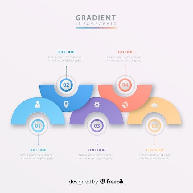 Passaggi infografica Vettore gratuito
