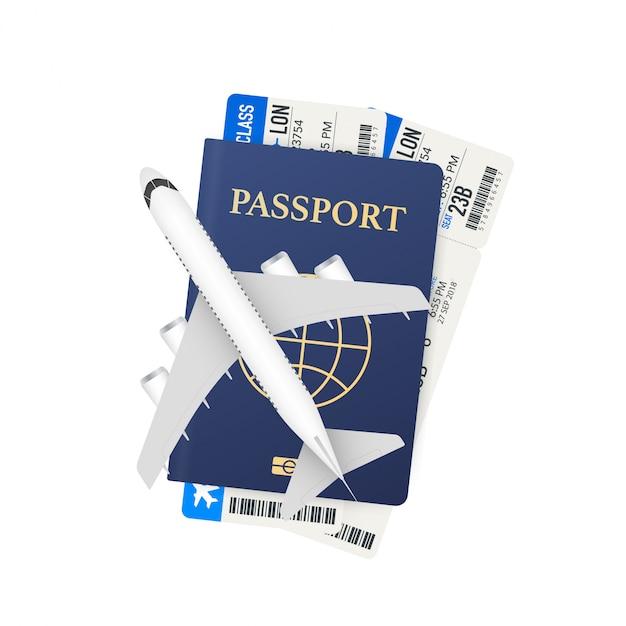 Passaporti, carte d'imbarco e aereo. concetto di viaggio. servizio di prenotazione o segno di agenzia di viaggi. banner pubblicitario Vettore Premium
