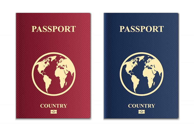 Passaporti con mappa del globo Vettore Premium
