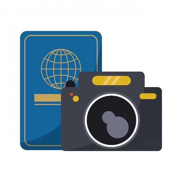 Passaporto di viaggio e macchina fotografica Vettore Premium