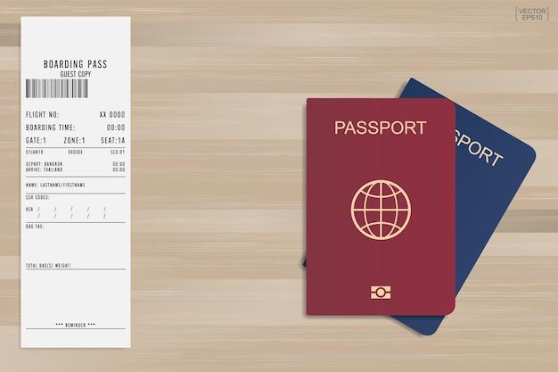 Passaporto e carta d'imbarco. Vettore Premium