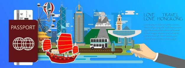 Passaporto infographic di hong kong infografica di viaggio con punti di riferimento di hong kong Vettore Premium