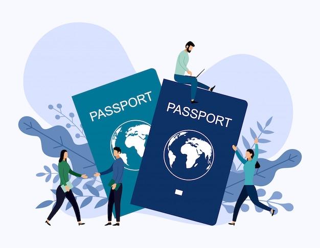 Passaporto internazionale con concetti umani, illustrazione vettoriale di viaggio Vettore Premium