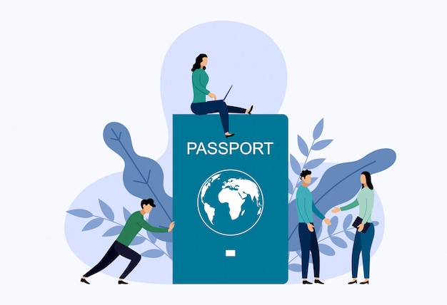 Passaporto internazionale con uomo. Vettore Premium