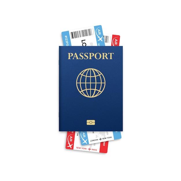 Passaporto . viaggio . id di cittadinanza per il viaggio. passaggio di imbarco dell'aeroplano isolato su bianco. Vettore Premium