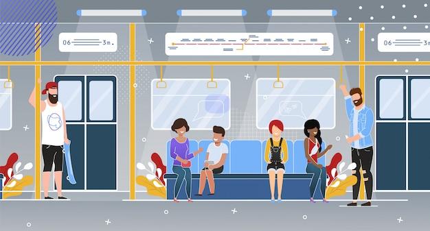 Passeggeri della metropolitana in wagon flat Vettore Premium