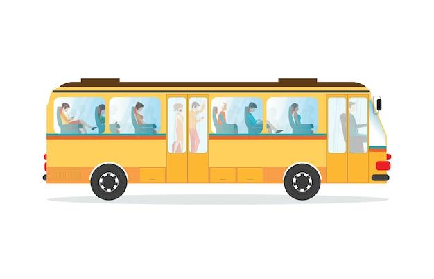 Passeggeri in autobus di trasporto pubblico. Vettore Premium