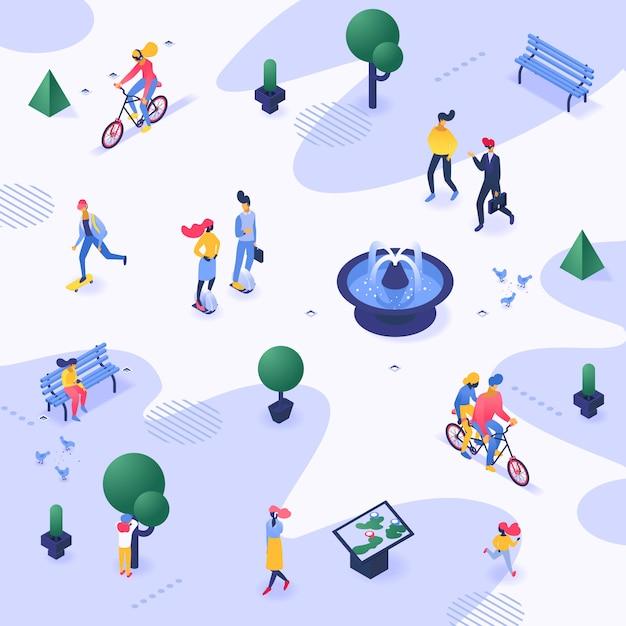 Passeggiata di camminata della gente urbana di vettore del parco della città all'aperto nella carta da parati del illustrationrop della città Vettore Premium