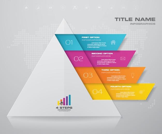 Passi a piramide con spazio libero per il testo su ogni livello. Vettore Premium