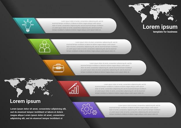 Passi aziendali per il successo dati infografici Vettore Premium