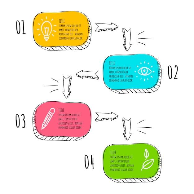 Passi di infografica disegnati a mano Vettore gratuito