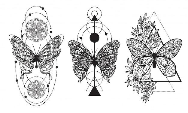 Passi il disegno e lo schizzo della mano della farfalla di arte del tatuaggio con la linea illustrazione di arte Vettore Premium