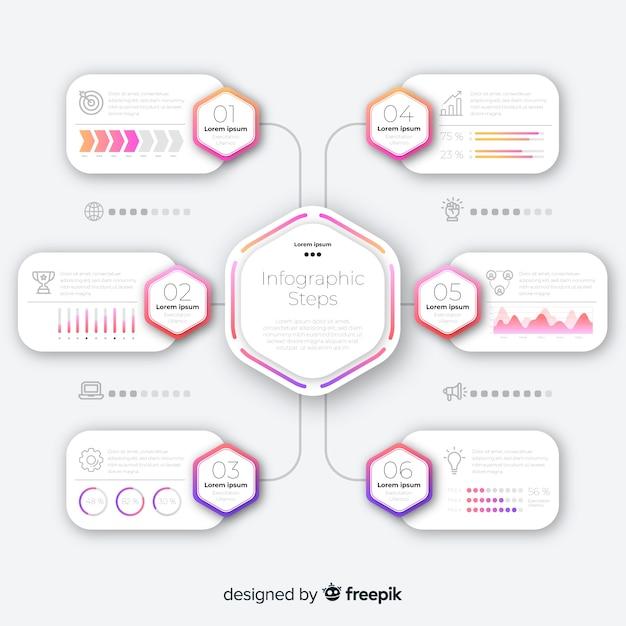 Passi infografica con gradiente piatto Vettore gratuito