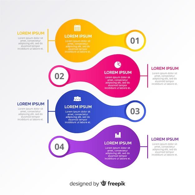 Passi infografica curvo Vettore gratuito