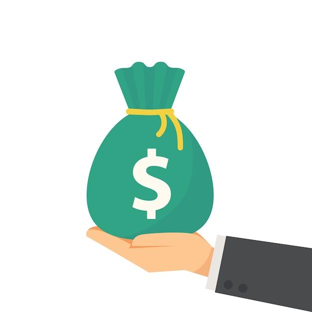 Passi la borsa dei soldi della tenuta nell'illustrazione piana di vettore di stile Vettore Premium
