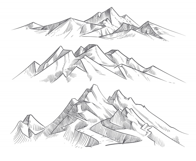 Passi le catene montuose del disegno nello stile dell'incisione. paesaggio della natura di vettore di panorama delle montagne dell'annata. schizzo all'aperto di punta, illustrazione della catena montuosa del paesaggio Vettore Premium