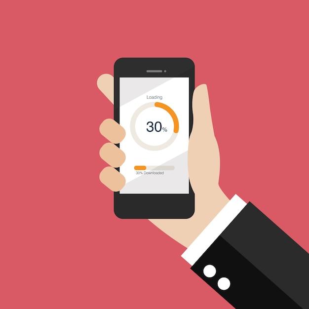 Passi lo smartphone della tenuta con il caricamento del cerchio e gli indicatori di stato Vettore Premium