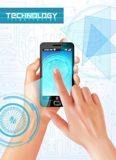 Passi lo smartphone della tenuta con il dito sulla tecnologia realistica dell'estratto di immagine di vista superiore dello schermo attivabile al tatto ciao Vettore gratuito