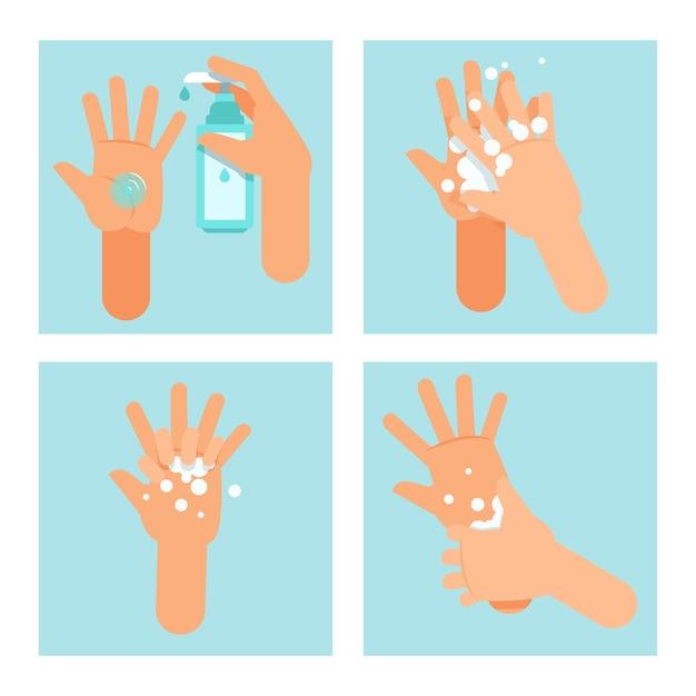 Passi sull'utilizzo corretto del disinfettante per le mani Vettore gratuito