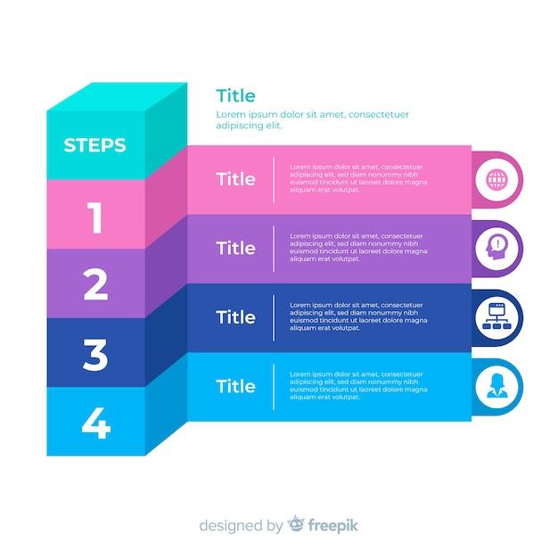 Passo infografica piatta Vettore gratuito