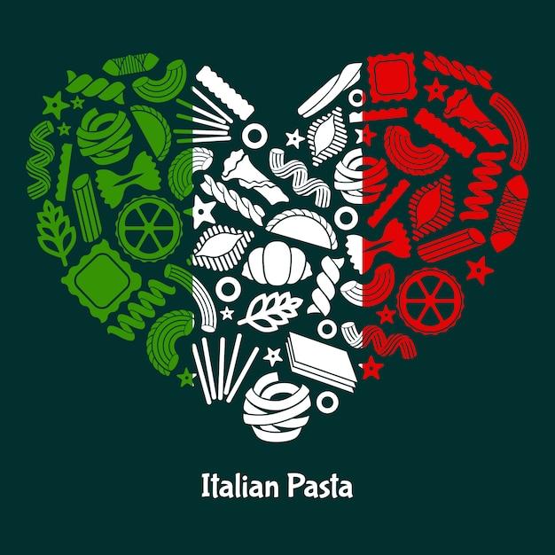 Pasta italiana. сolor bandiera dell'italia a forma di cuore Vettore Premium